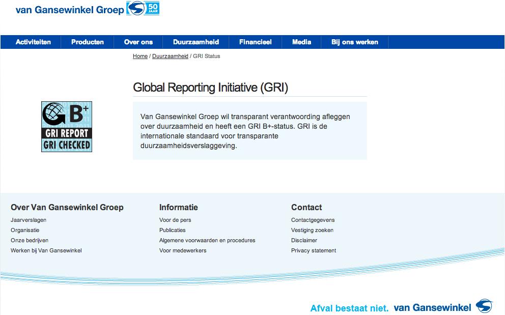 Van Gansewinkel GRI-Status